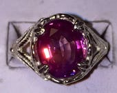 Purple sapphire silver ring size 8.5 saved for Linda!!