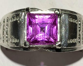 Magenta zircon and silver ring size 9