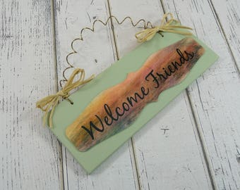 WELCOME FRIENDS SIGN Wood Metal Celery Green Cute Home Decor Gift Earth Tones Wire Raffia Bows Chalk Paint Front Door Entry Office 002879