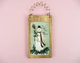 LITTLE WOOD SIGN Live Laugh Love Build Snowmen Holiday Tree Ornament Snowman Scene Home Decor Office Gift Idea Folk Art Primitive Homespun