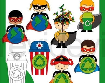 35% OFF SALE Earth day clipart - superhero recycle clip art - go green digital images - commercial use, instant download