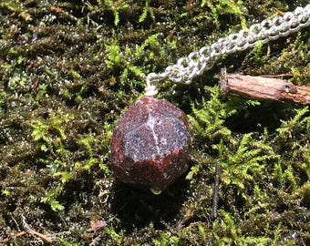 Raw Garnet Stainless Steel Long Necklace