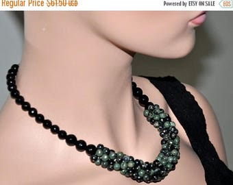 Statement Necklace, Gemstone Necklace, Green Black, Chunky Jewelry, Jasper Black Onyx, Mother's Day Gift, Choker Necklace