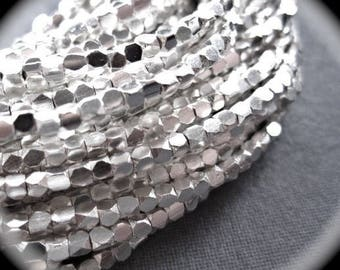 COMPLETE STRAND Sterling Silver Faceted Cube beads - 8 inches - 2.5mm X 2mm -  STRAND