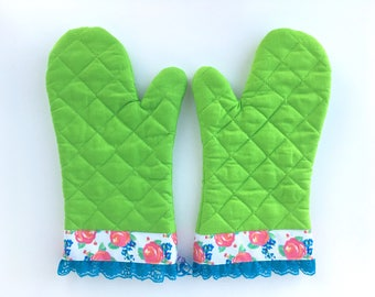 Designer Oven Mitt Set. Fancy Kitchen Pot Holder. Lime Green Baking Mitt. Spring Rose Floral Pattern. Blue Lace Ruffle. Mother's Day Gifts.