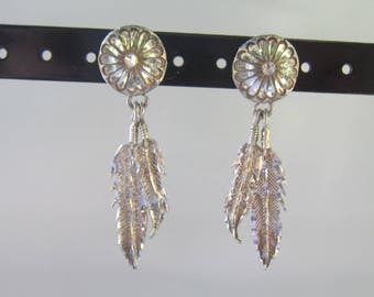 Native American - Southwestern Sterling Silver Diamond Etched Concho and Feather Dangle Earrings   1592C