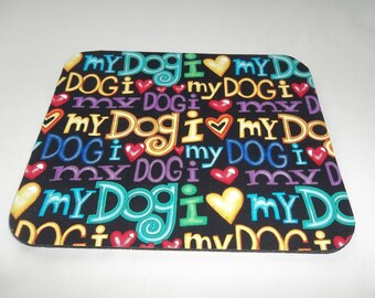 Dog Mouse Pad, I Love My Dog Pet Mouse Pads, Desk Accessories, Computer MousePad, Rectangle Mouse Mat, Office Decor Handmade Dog Lovers Gift