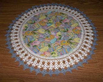 Crocheted, Easter Doily, Pastel Easter Eggs, 20 Inch, Fabric Doilies, Handmade, Lace Doily, Table Topper, Centerpiece, Crocheted Edge Gift