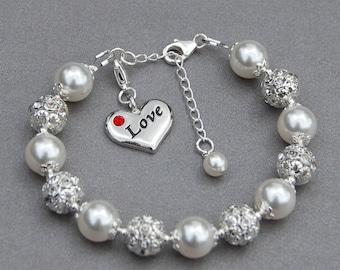 Love Charm Bracelet, Heart Jewelry, Wife Jewelry, Love Jewelry, Wife Gift, Love Token, Girlfriend Present, Romantic Gift, Anniversary Gift