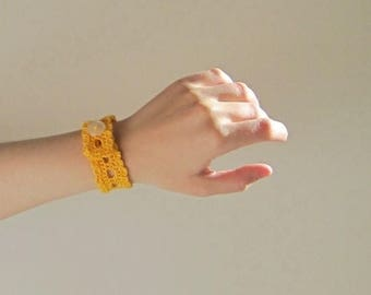 First Fall Sale - 15% Off Saffron Yellow Lace Wristlet in Cotton Thread and Pearlescent Button