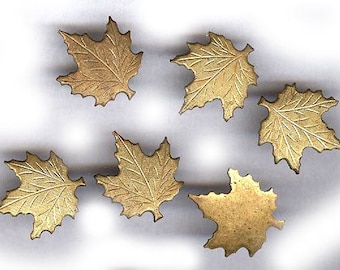 vintage MAPLE LEAF leaves STAMPINGS eight brass leaves glue art work fancy brass leaves embellishment