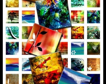 45% OFF SALE Abstract Floral 7/8 X 7/8 inch Square Tiles Digital Download Collage Sheet No. 9