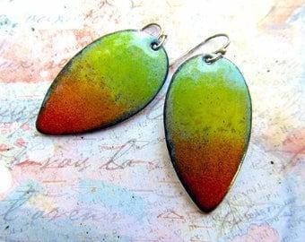 Colorful earrings Enamel jewelry teardrop dangle earrings boho bohemian jewelry red orange yellow green Sterling silver ear wires