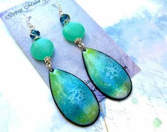 Turquoise earrings mint Enamel earrings Boho jewelry summer dangle earrings