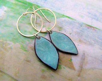 minimalist earrings Robins egg blue earrings Enamel jewelry silver Hoop with dangle Geometric earrings