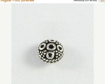 SHOP SALE Small Bali Sterling Silver Saucer Bead 8mm with Circle Design and Granulation (2 beads)