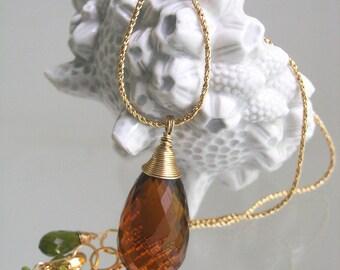 Amber Glass Briolette Pendant, 14k Gold Filled Minimalist Necklace with Vesuvianite