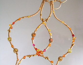 Gemstone Hoops, 14k Gold Filled, Large Sapphire Wire Wrapped Earrings, Artisan Made in the USA, Pink and Orange, Unique Design