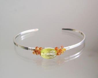 Gemstone Cuff, Lemon Quartz Minimalist Sterling Cuff, Orange Sapphire Bracelet, Modern Design, Stackable Cuff, Artisan Made