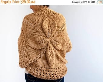 20% WINTER SALE Camel Vintage Flower Cardigan by Afra