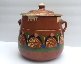 Terra Cotta Cookie Jar or Bean Pot Hand Made Souvenir of Mexico Slip Decorated Southwestern Decor