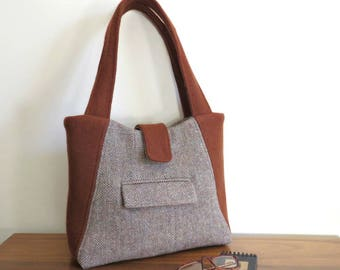 WILLOW Tote in Repurposed Wool, Eco Friendly, Upcycled Felted Wool Bag in Rust and Tweed