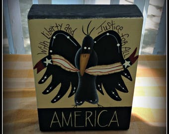 Americana Eagle Flag Wood Shelf Sitter Block-Home Decor