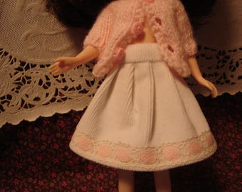Blythe White Corduroy Skirt with Vintage Pink Lace Trim for Pullip Too