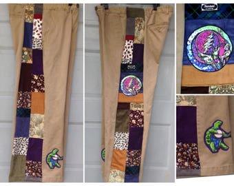 Grateful Dead Patchwork Pants,Men's Side panel patch cords, custom patchwork,hippie patchwork corduroy pants, grateful dead cords