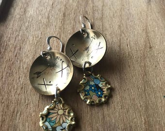 handmade vintage tea Tin Floral Earrings with sterling silver earwires