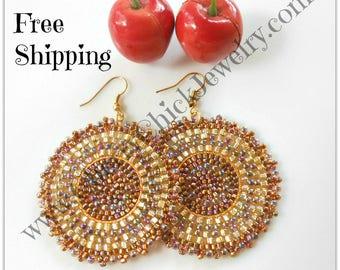 Seed Bead Earrings - Beaded Hoop Earrings - Seed Bead Hoop Earrings - Beadwork Earrings - Beaded Earrings - Free Shipping - Cherry Chick