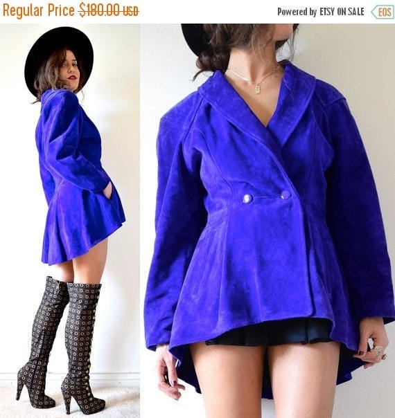 SALE SECTION / 50% off Vintage 80s Cobalt Blue Suede Leather Victorian Style High Low Peplum Jacket (size medium)