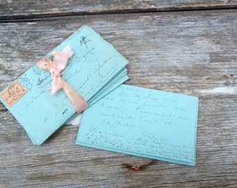Vintage  Antique 1903  French set of 5 handwriten love letters/ blue paper/dry flowers