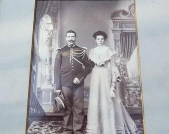 ON SALE Vintage Antique 1900 cabinet huge photography couple