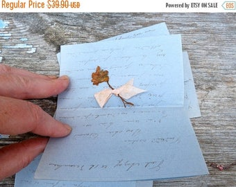 ON SALE Vintage  Antique 1903  French set of 4 handwriten love letters/ blue paper/dry flowers