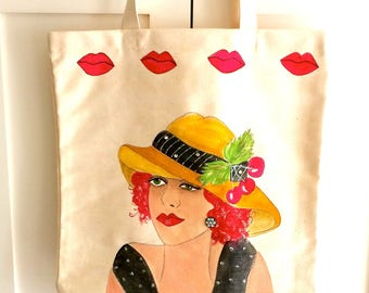 GARDEN GIRL TOTE, hand painted tote, garden lady, straw brimmed hat, red lips, canvas garden tote, garden tool tote, book tote, garden gift