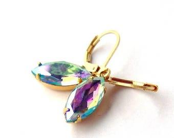 SALE Aquamarine Rhinestone Leverback Earrings /Aurora borealis / vintage / estate style / gift for her / rainbow / bridesmaid earrings / uni