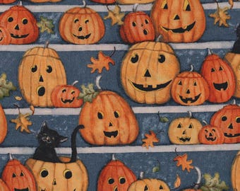 Pumpkin Stares, Halloween Fabric, Springs Creative, Festive, Holiday, Pumkin Patch, Blue Orange, Fall Leaves - HALF YARD
