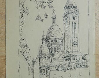 French drawing of Paris - Sacré Coeur  - Montmartre - Paris