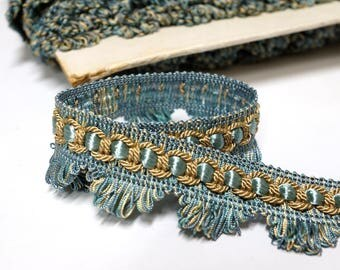 Vintage French Passementerie fringe - braid trim in Blue and Gold - vintage ribbon - trim by the yard
