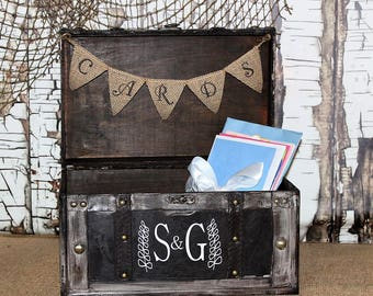 Wedding Card Box with Burlap Banner-Rustic Wedding Card Box-Shabby Chic Wedding Decor, Personalized, Reception Card Holder,