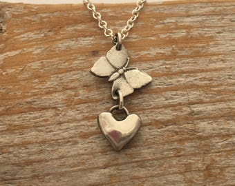 Sterling silver butterfly and floating heart necklace