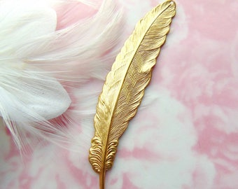 BRASS * With Hole Large Plume Bird Feather Stamping ~ Jewelry Ornament Findings ~ Brass Stamping (E-997)