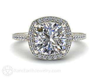 Forever One Moissanite Engagement Ring Cushion Cut Diamond Halo Moissanite Ring Conflict Free in Gold or Platinum