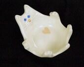 White Ceramic Cat Dish with heart