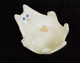 White Ceramic Cat Dish with heart
