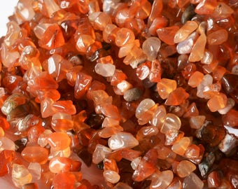 Red Agate Chip Beads Beautiful Gemstone Nuggets Polished Earthy Orange tones