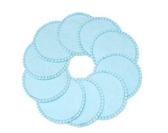 Make-up Remover Pads Lt. Blue Washable Reusable Cotton Rounds