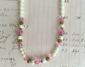 Vintage Ivory Pearl Necklace with Pink Crystals and Gold Accents - Adjustable Length - 1928 Brand - Lovely