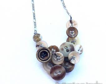 Vintage Button Necklace Tan Swirl Texture
